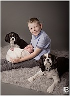Baby Boy with Sibling & Dogs!