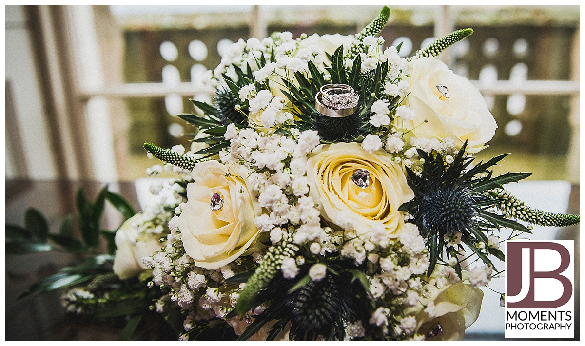 Wedding bouquet and rings at Culzean Castle