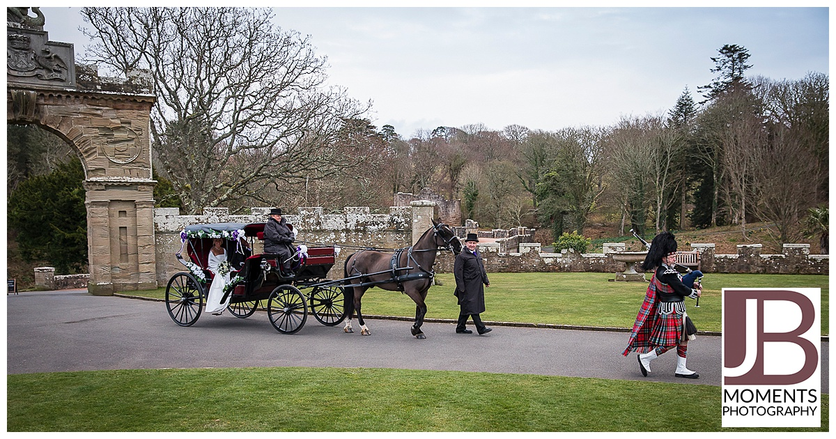 Wedding Horse and Carriage at Culzean Castle